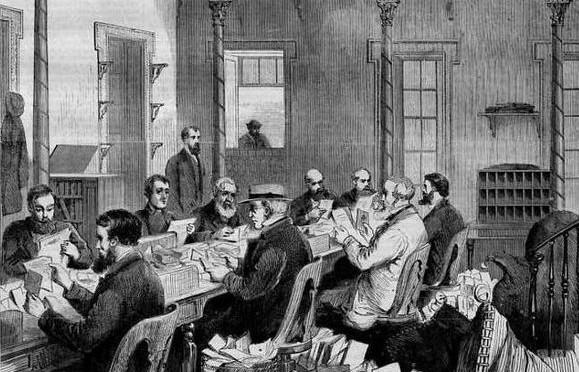 Dead Letter Office, Washington um 1868