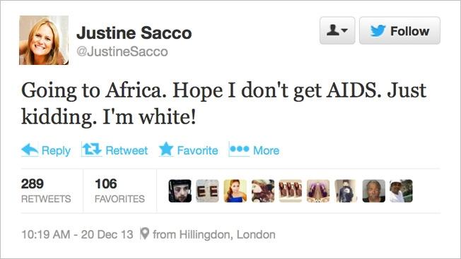 Tweet von Justine Sacco. Quelle: mobilegeeks.de