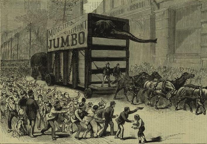 Ankunft des Elefanten Jumbo in New York City